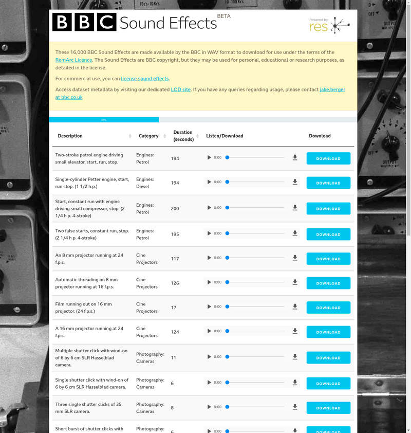 BBC Sound Effects Archive Resource