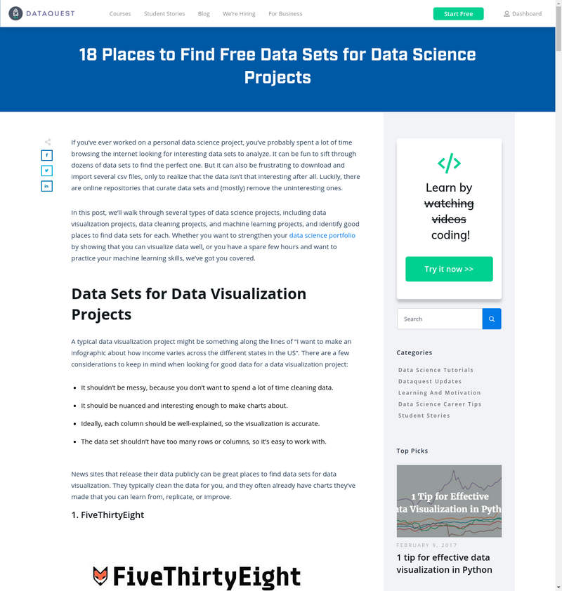 Free Datasets for Datascience Projects