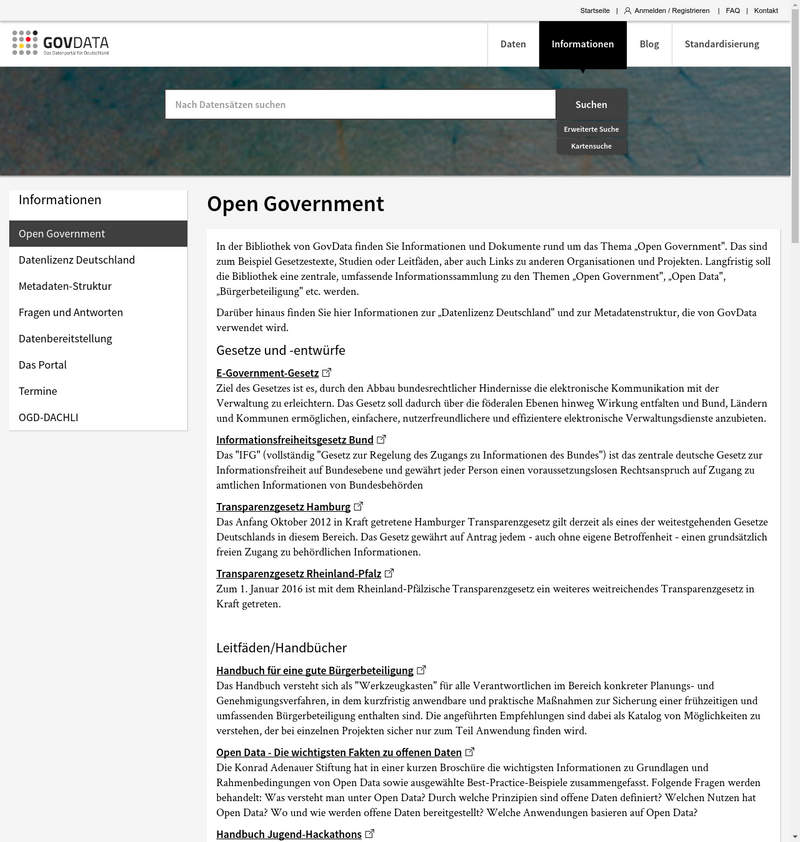 Linkliste von govdata.de zum Thema Open Government