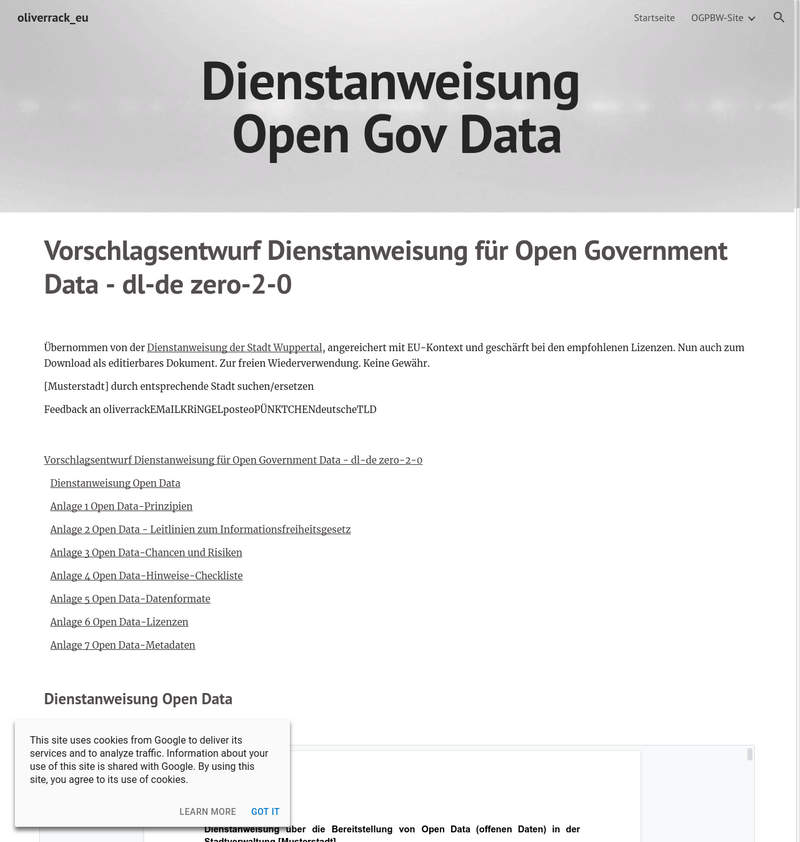 Open Data Dienstanweisung - Oliver Rack