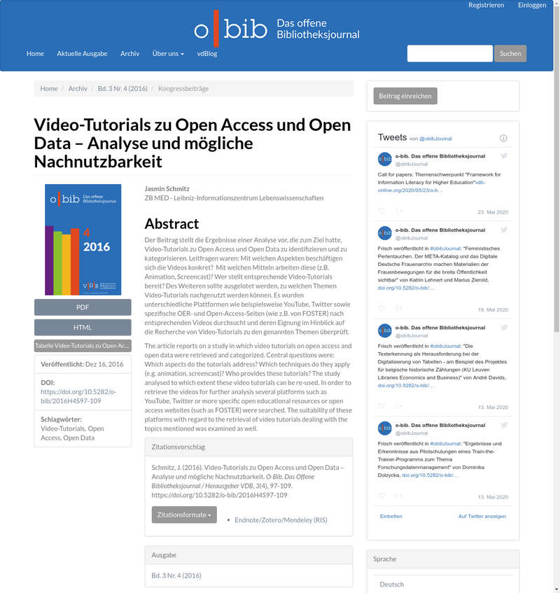 Video-Tutorials zu Open Access und Open Data